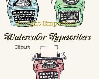 Watercolor Vintage Typewriters Clipart Digital Download