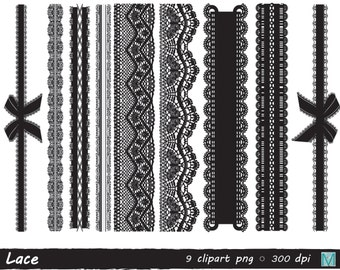 Black Lace clip art images - Lace Borders - for Scrapbooking Card Making Cupcake Toppers Paper Crafts - instant download digital file - PNG