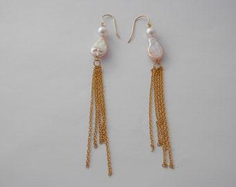 Long dangle earrings jacket-Long dangle pearl earrings jacket-Birthday and Christmas gift!-clover earrings jackets-long dangle ear-EAKe6