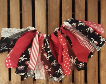 Pirate Tutu ,Fabric Tutu, Girl's Scrappy Fabric Tutu, Black, Red and White Fabric Tutu