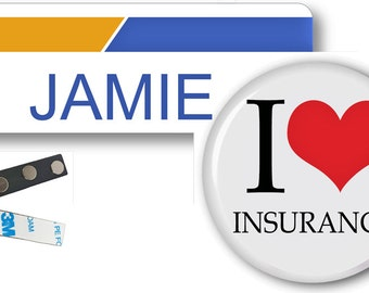 1 JAMIE Bundle Bee From Progressive Insurance Halloween Costume Name Badge Tag Magnet Fastener & Button SHIPS FREE