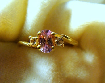 Natural Pink Spinel Ring in 14K Gold - Lovely