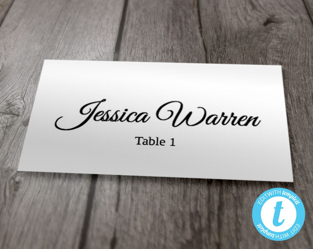 wedding place card template flat printable calligraphy