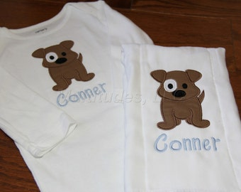 Puppy Applique Onesie/Burp Cloth Set