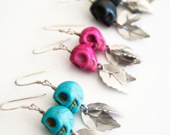 Skull Earrings, Sugar Skull Leaves, Sugar Skull Jewelry, Sugar Skull Dangle Earrings, Day of the Dead Earrings