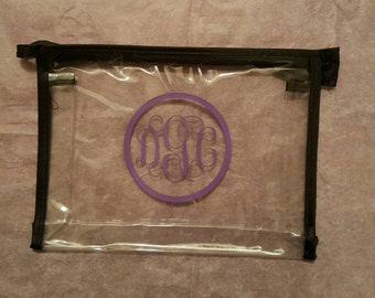 Monogrammed Clear Travel Cosmetic Bag