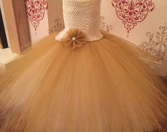 SALE  Ivory and gold flower girl dress