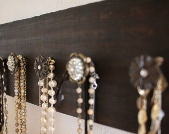 Wall mount necklace rack - reclaimed wood