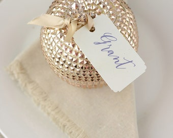 Gold  Apple 5 Inch, Place Setting, Place Card Holder
