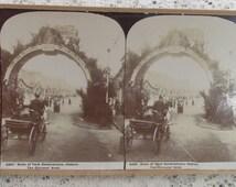 Antique 1901 stereoview card George Rose Australia, 3201 Duke of York Celebrations, The Citizens' Arch, Hobart Tasmania, Australian History