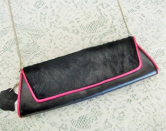 Vintage Couture Handbag, Valerie Stevens, Black Horsehair & Leather, Hot Pink Piping, Silver Chain