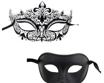 Luxury Mask Couple's Venetian Masquerade Crown Mask Set