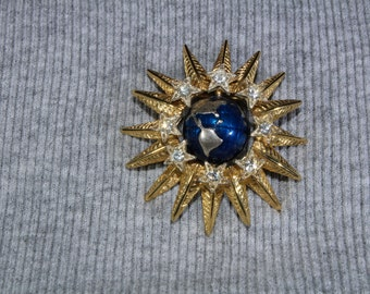 Vintage Graziano Spinning Earth and Rhinestone Brooch