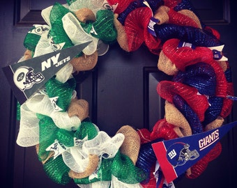 NFL House Divided wreath New York Jets / New York Giants