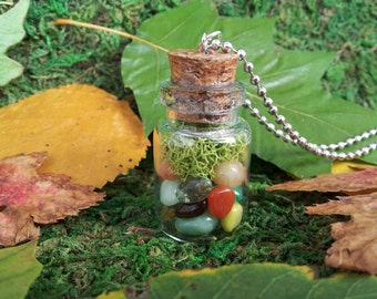 Autumn Amber: Faerie Flask glass bottle necklace vial pendant with autumn-hued glass pebbles and moss, on ball chain