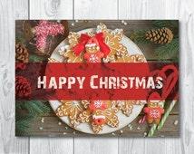 """Christmas card """"Happy Christmas"""" - Digital card - Printable card - Christmas postcard - Holiday greeting card"""