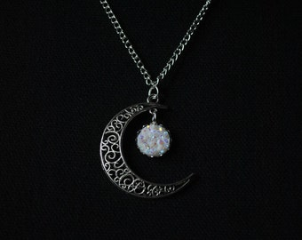 Silver Crescent Moon necklace with iridescent Crystal pendants
