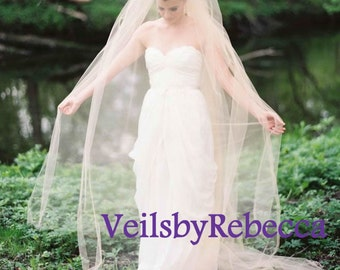 Ready to ship Veil-Simple blush veil, plain blush tulle cathedral veil with blusher,2 tiers dark champagne tulle chapel veil V601