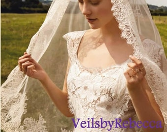 1 tier mantilla veil,elbow lace veil,fingertip lace veil, French Alencon lace veil,catholic lace veil ivory, lace veil fingertip V614