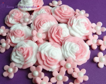 24 Pink roses and flowers-dual colour edible cupcake decorations cake toppers cake sprinkles