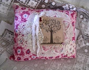 Vintage Feedsack Pillow, Handmade, Tree of Life Ragg Tagg, Decorative Pillow, Romantic Bohemian, Home Decor, Handmade Pillow