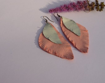 Pink light blue LEATHER feather earrings leather earrings handmade earrings boho dangle earrings, leather jewelry, bohemian leather earrings