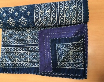 Flower Indigo , Handmade Kantha Quilt Bedspread Throw Cotton Blanket Ralli Gudari Queen !!_8