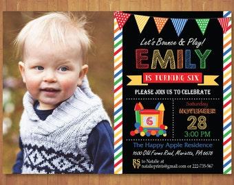 Bounce House Birthday Invitation with Photo. Chalkboard. Bounce House Party Invite. Boy or Girl Birthday. Printable Digital.