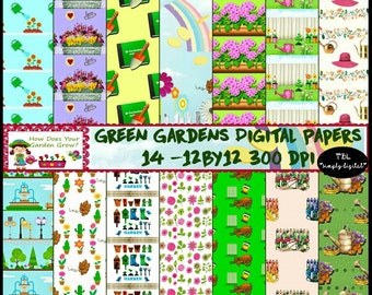 "Green Gardens Gardening Digital Paper Pack ""How Does Your Garden Grow? Digital Download Paper.Commercial OK"