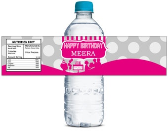 Waterproof Water Bottle Labels, Custom Water Bottle Labels, Party Decor Lables, Self Adhesive Stickers, Personalized Bottle Labels WBL49P