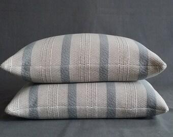 2 Linen Ticking Pillows