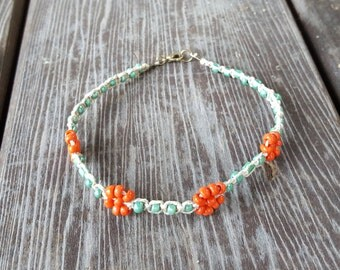 California Poppy Hemp Anklet, Glass Bead Flower Anklet, Orange Flower Beaded Hemp Anklet, Green Orange Beaded Anklet, Beaded Flower Anklet
