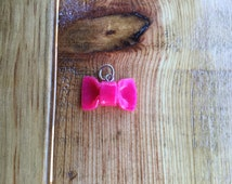 Cute Ruby Quarts Bow Tie Charm - Polymer Clay