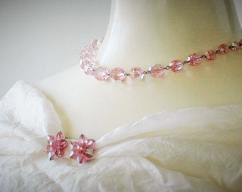 Pink aurora borealis necklace and clip-on earrings set vintage