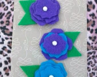 Felt flower clips
