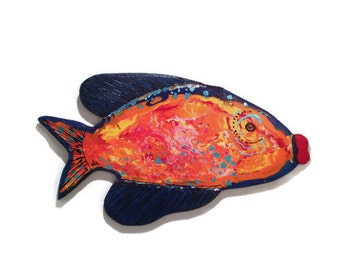 Tropical fish wood painted medium