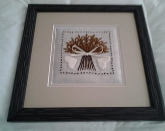 Framed wheat sheave crewel embroidered picture