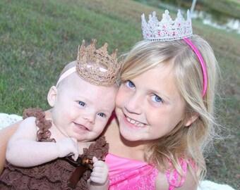 Gold or silver crown headband, birthday crown, newborn prop
