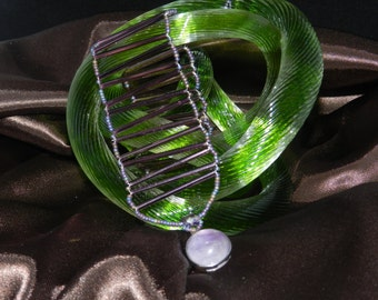 FT416 Purple Bugle Bead Bracelet, Size 9