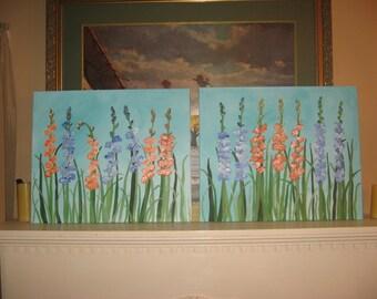 Flower paintings - 2 original paintings