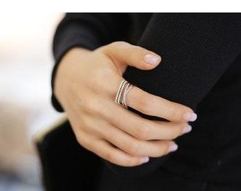 Multi-Layer Line Adujustable Rose Gold Diamond Ring