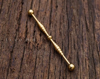 industrial barbell industrial piercing 14g simple base minimalist gold unique