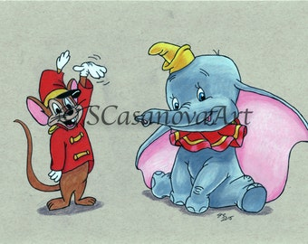 Dumbo & Timothy Mouse Disney Cartoon Print of original colored pencil drawing