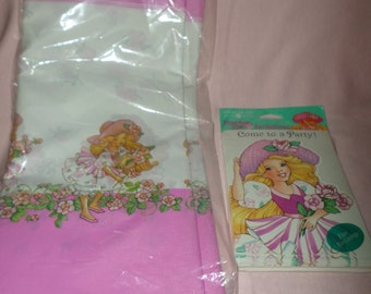 Vintage Peppermint Rose Tablecloth & Birthday Party Invitations NIP dated  1993 pink blonde hair