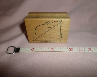 Vintage Sandra Boynton Hippo Stamp Hippotenuse MATH   hypotenuse  Geometry Rare Kidstamps rubber