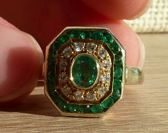 """Ring *** """"Ornament"""" *** Ring with emeralds and Cubic Zirkonia"""