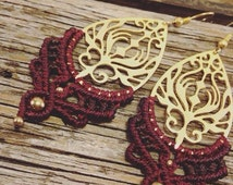 pretty delicate macrame earrings in dark red , brown , ornaments , gold