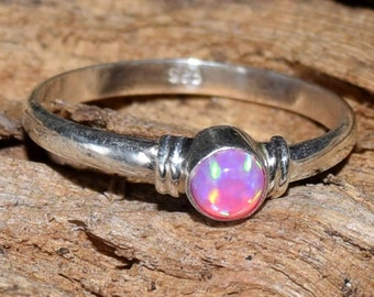 Opal Ring, Pink opal Ring, 925 Solid Sterling Silver Pink Fire 4 mm Christmas Gift Opal  Ring Jewellery Size US 4 5 6 7 8 9 10 11