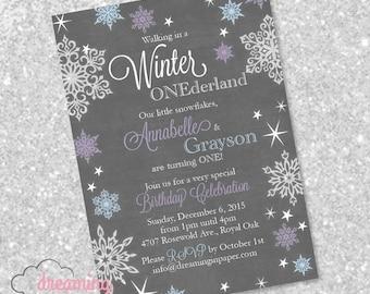 Winter One-derland Birthday Party Invitation