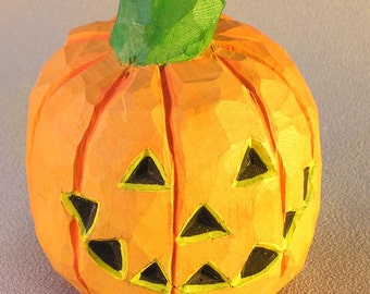 Halloween Jack-O-Lantern Hand Carved in Wood by Russell Scott